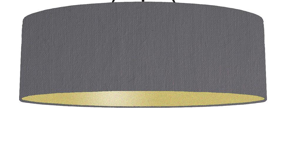 Dark Grey & Gold Matt Lampshade - 100cm Wide