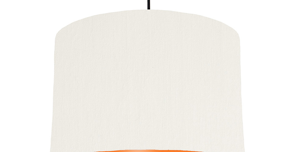 White & Orange Lampshade - 30cm Wide
