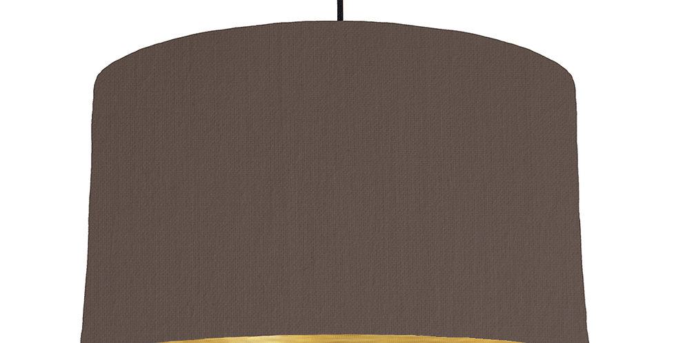 Brown & Brushed Gold Lampshade - 50cm Wide