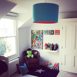 blue and Red lampshade