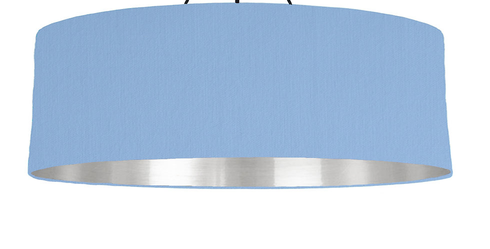 Sky Blue & Silver Mirrored Lampshade - 100cm Wide