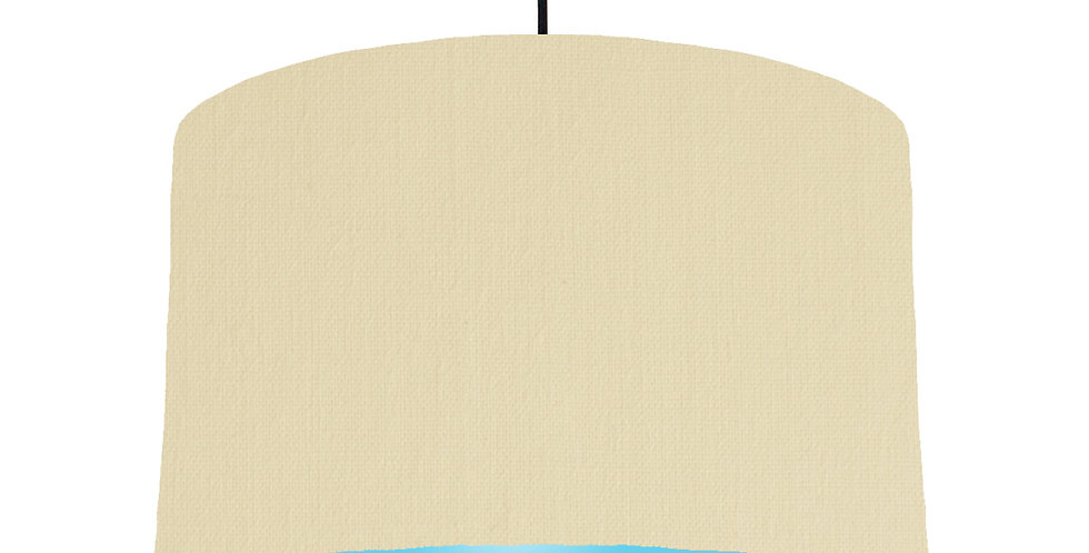 Natural & Light Blue Lampshade - 40cm Wide