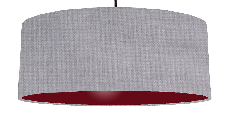 Light Grey & Burgundy Lampshade - 70cm Wide