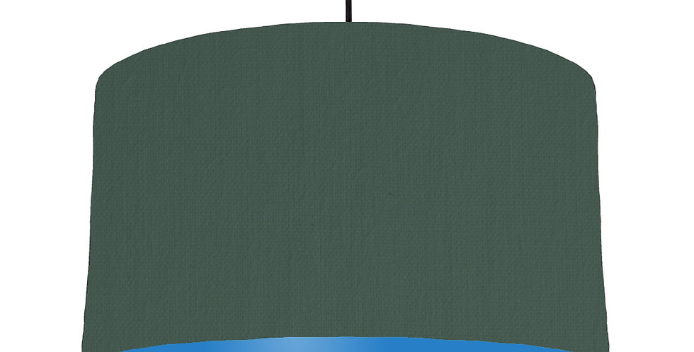 Bottle Green & Bright Blue Lampshade - 50cm Wide