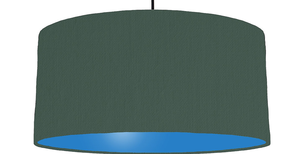 Bottle Green & Bright Blue Lampshade - 60cm Wide