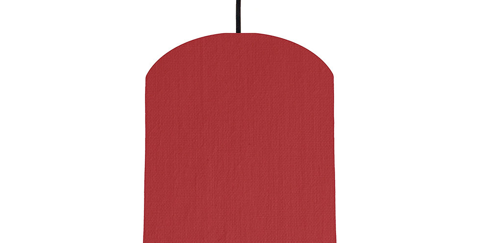 Red & Wood Lined Lampshade - 20cm Wide