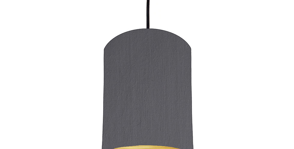 Dark Grey & Brushed Gold Lampshade - 15cm Wide