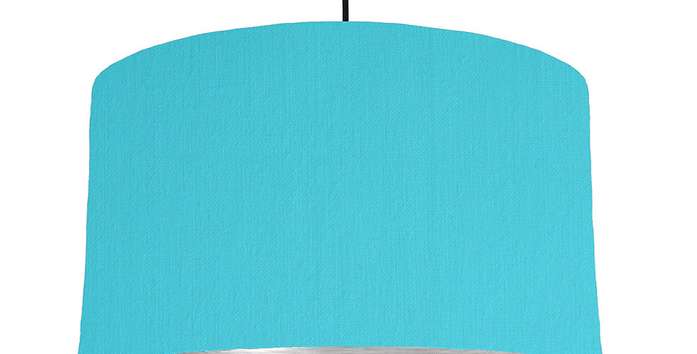 Turquoise & Brushed Silver Lampshade - 50cm Wide