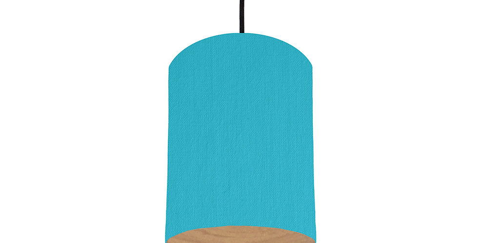 Turquoise & Wood Lined Lampshade - 15cm Wide