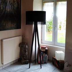 Velvet trimmed lampshade