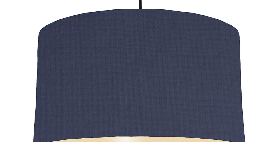 Navy Blue & Ivory Lampshade - 50cm Wide