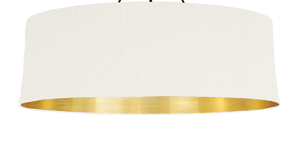White & Brushed Gold Lampshade - 100cm Wide