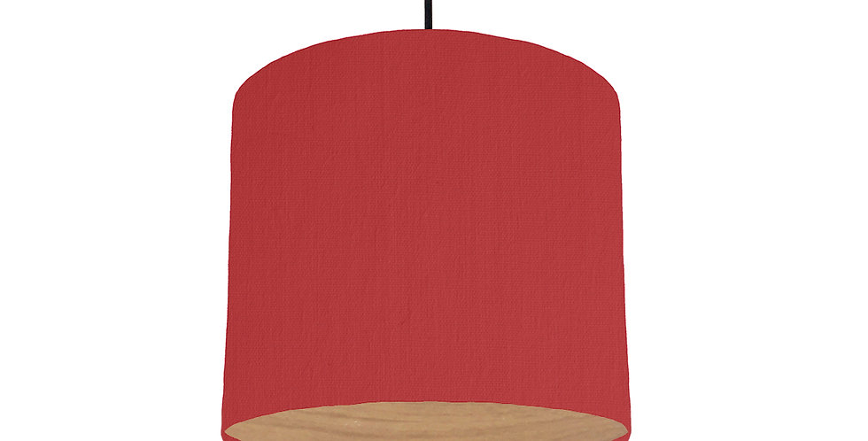 Red & Wood Lined Lampshade - 25cm Wide