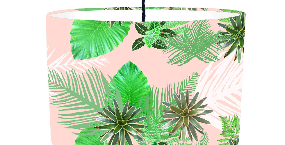 Digital Tropical plant Lampshade (Pink) - White Lining