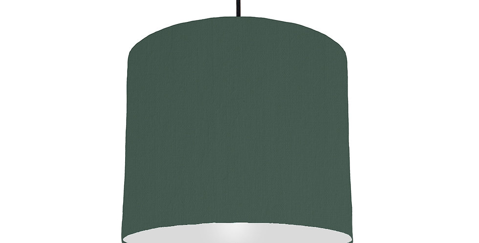 Bottle Green & Silver Matt Lampshade - 25cm Wide