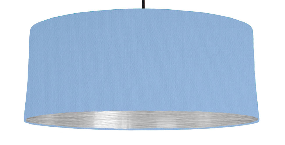 Sky Blue & Brushed Silver Lampshade - 70cm Wide