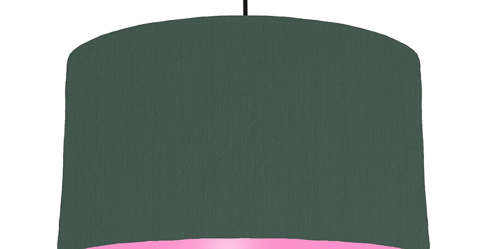 Bottle Green & Pink Lampshade - 50cm Wide