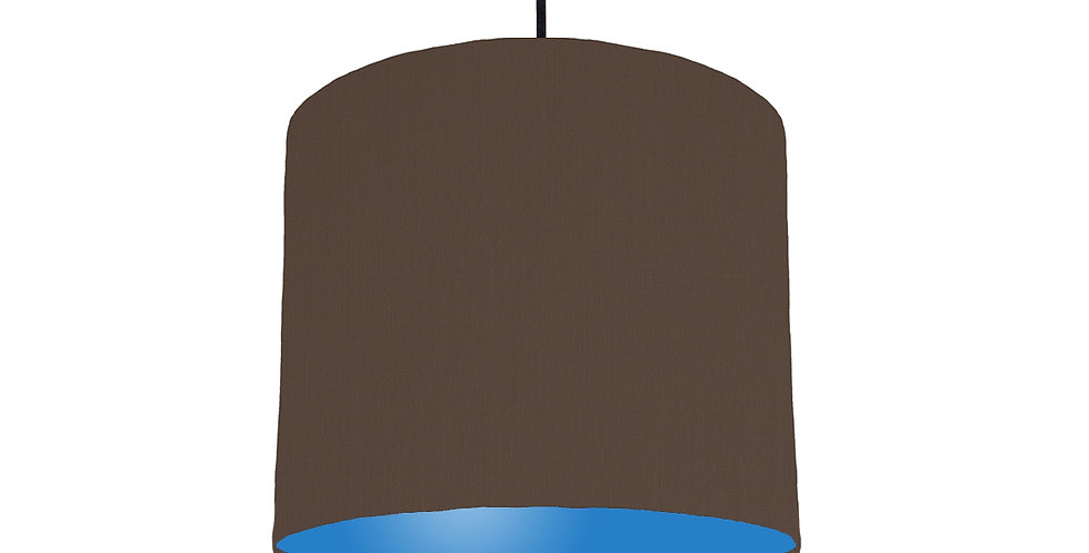 Brown & Bright Blue Lampshade - 25cm Wide