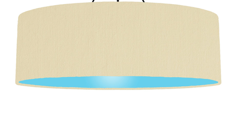 Natural & Light Blue Lampshade - 100cm Wide