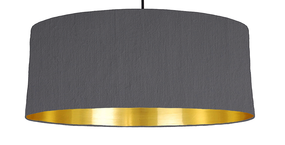 Dark Grey & Gold Mirrored Lampshade - 70cm Wide