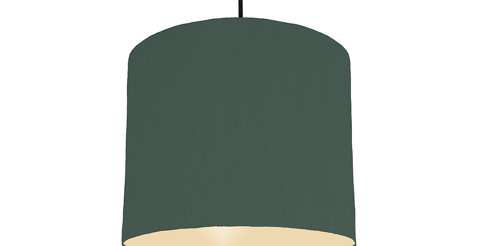 Bottle Green & Ivory Lampshade - 25cm Wide