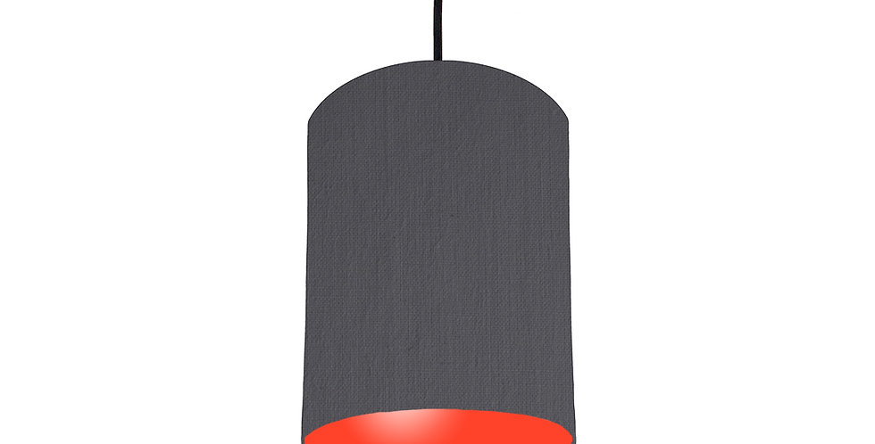 Dark Grey & Poppy Red Lampshade - 15cm Wide