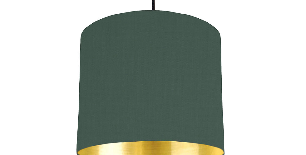 Bottle Green & Gold Mirrored Lampshade - 25cm Wide