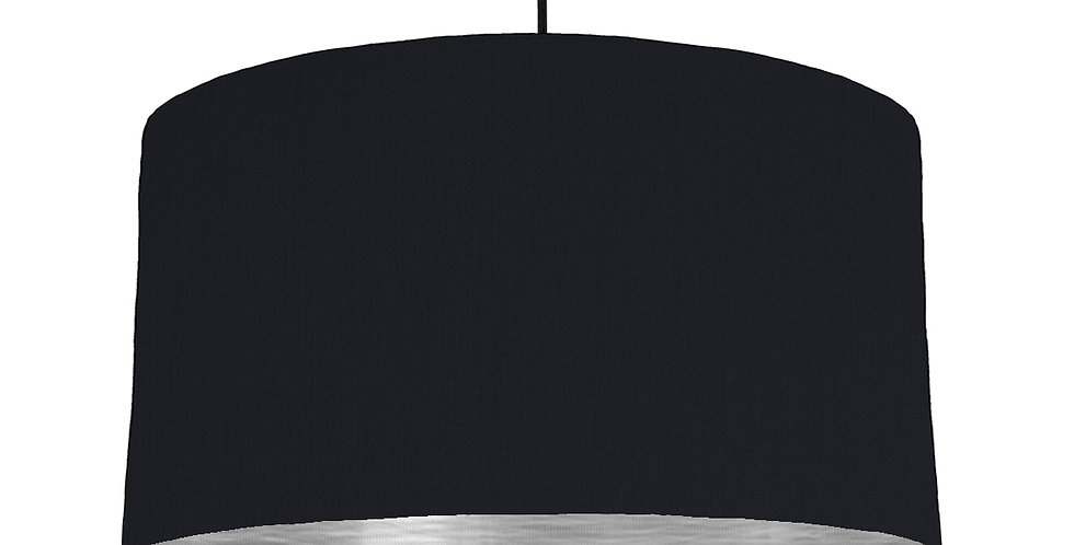 Black & Brushed Silver Lampshade - 50cm Wide