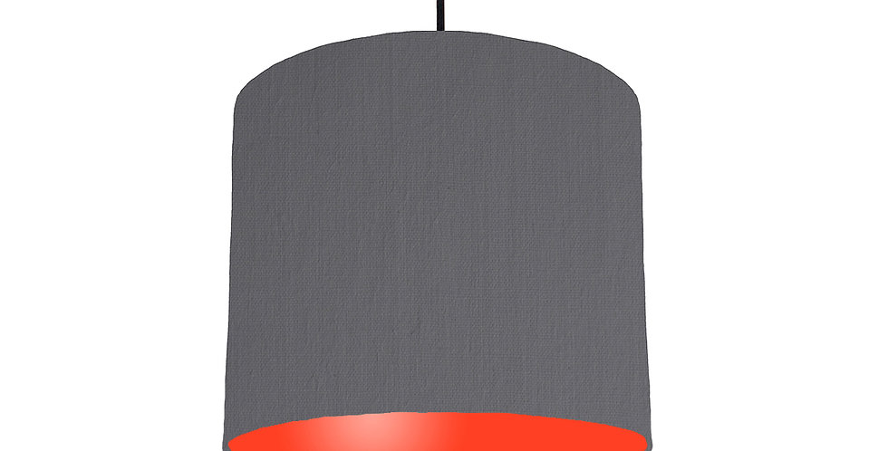 Dark Grey & Poppy Red Lampshade - 25cm Wide