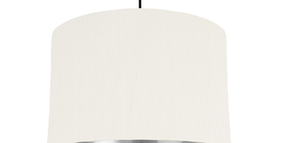 White & Silver Mirrored Lampshade - 30cm Wide
