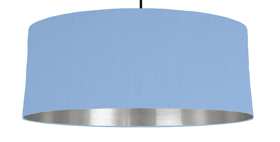 Sky Blue & Silver Mirrored Lampshade - 70cm Wide