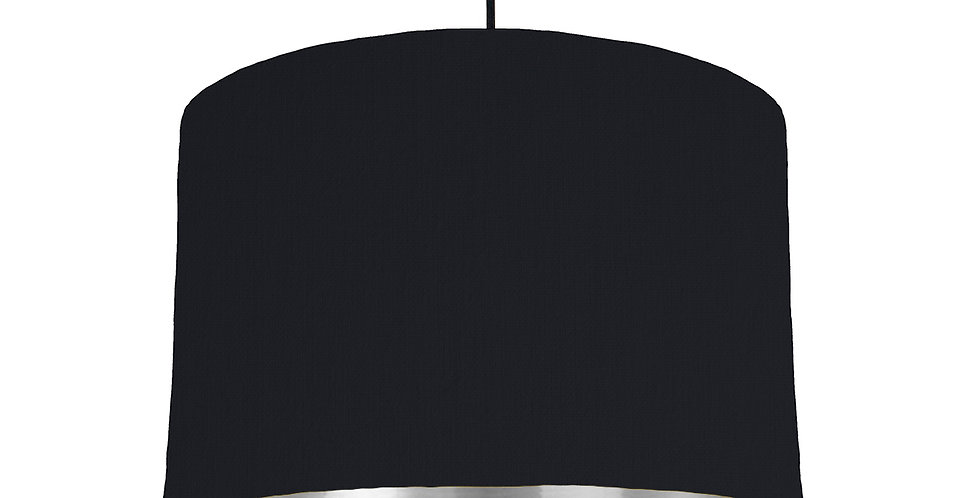Black & Silver Mirrored Lampshade - 30cm Wide