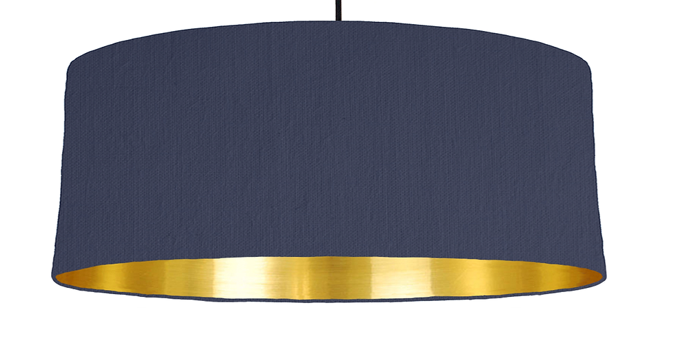 Navy & Gold Mirrored Lampshade - 70cm Wide