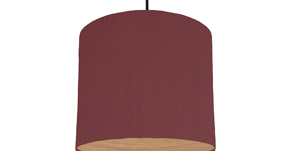 Wine Red & Wood Lined Lampshade - 25cm Wide
