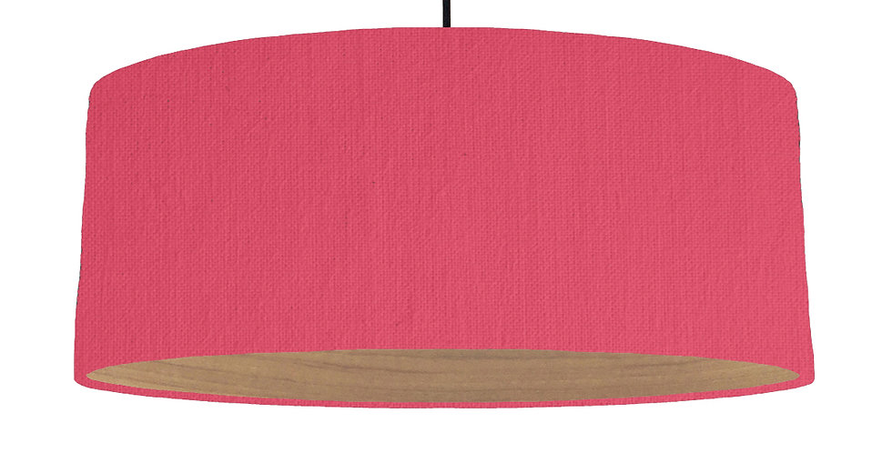 Cerise & Wooden Lined Lampshade - 70cm Wide