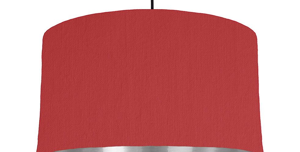 Red & Silver Mirrored Lampshade - 50cm Wide