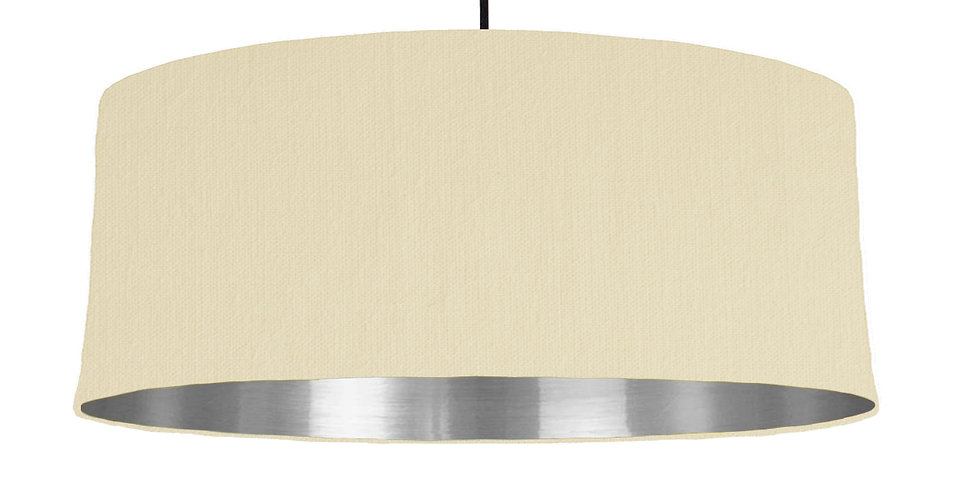 Natural & Silver Mirrored Lampshade - 70cm Wide