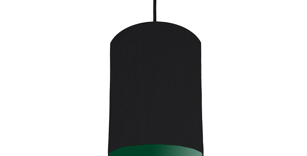 Black & Forest Green Lampshade - 15cm Wide