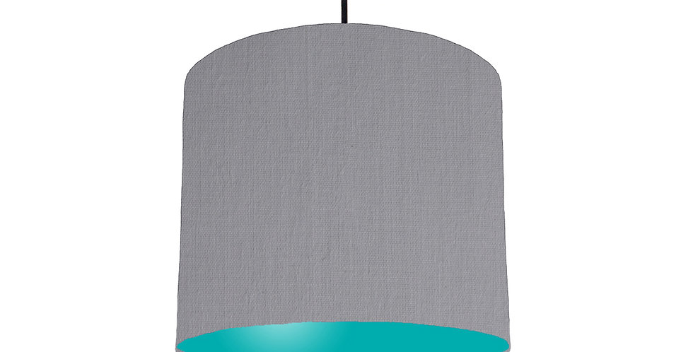 Light Grey & Turquoise Lampshade - 25cm Wide