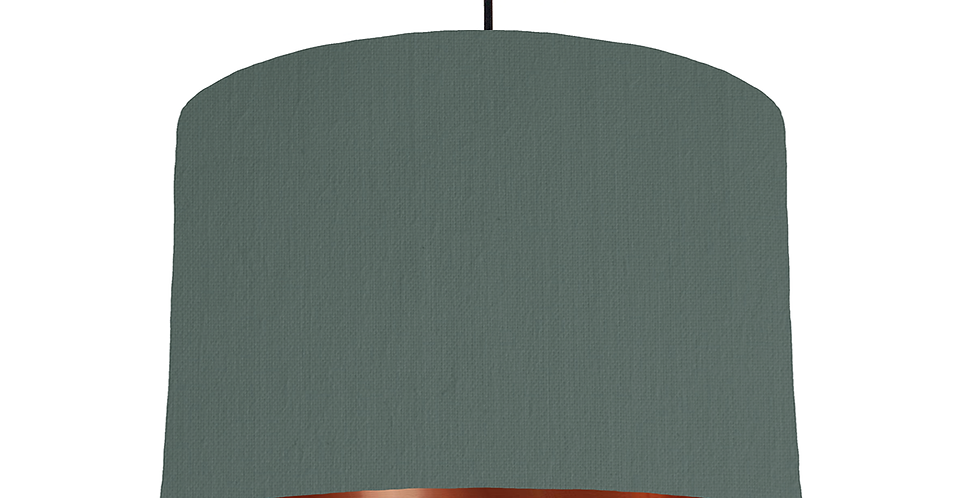 Bottle Green & Copper Mirrored Lampshade - 30cm Wide