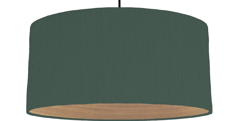 Bottle Green & Wooden Lined Lampshade - 60cm Wide