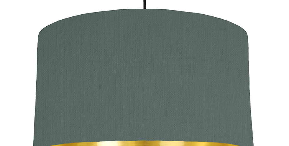 Bottle Green & Gold Mirrored Lampshade - 50cm Wide