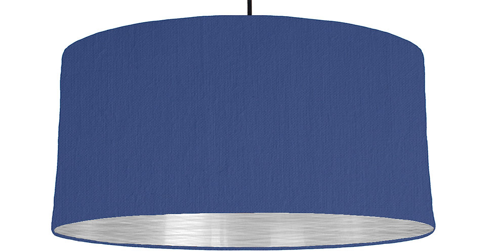 Royal Blue & Brushed Silver Lampshade - 60cm Wide