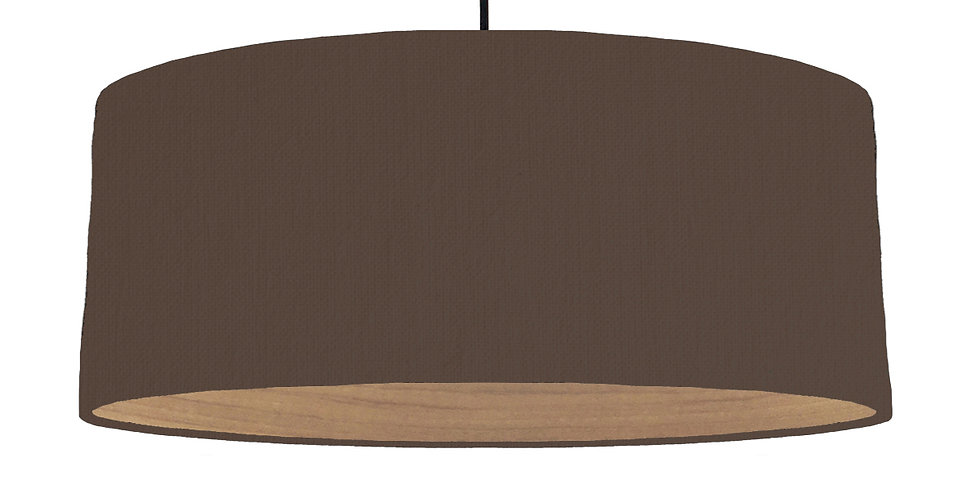 Brown & Wooden Lined Lampshade - 70cm Wide