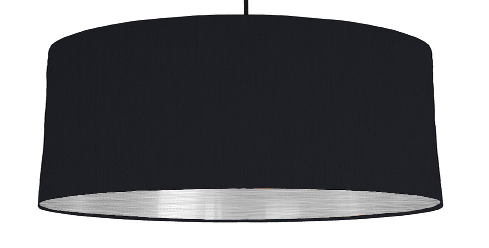 Black & Brushed Silver Lampshade - 70cm Wide