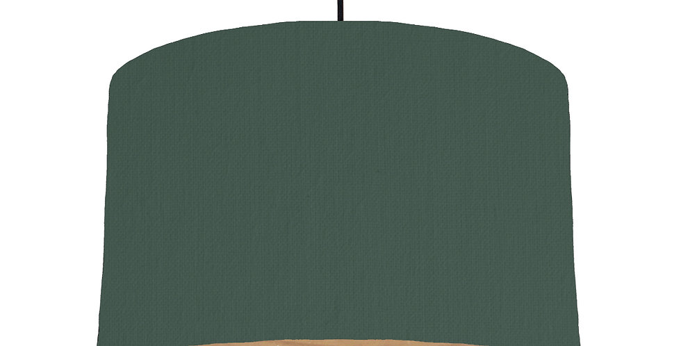 Bottle Green & Wooden Lined Lampshade - 40cm Wide