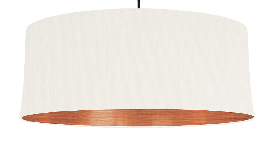 White & Brushed Copper Lampshade - 70cm Wide