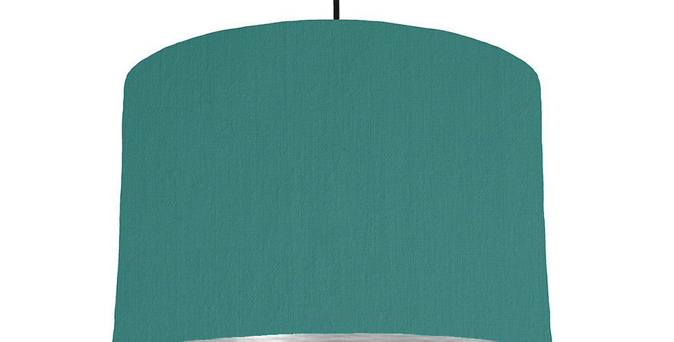 Jade & Brushed Silver Lampshade - 30cm Wide