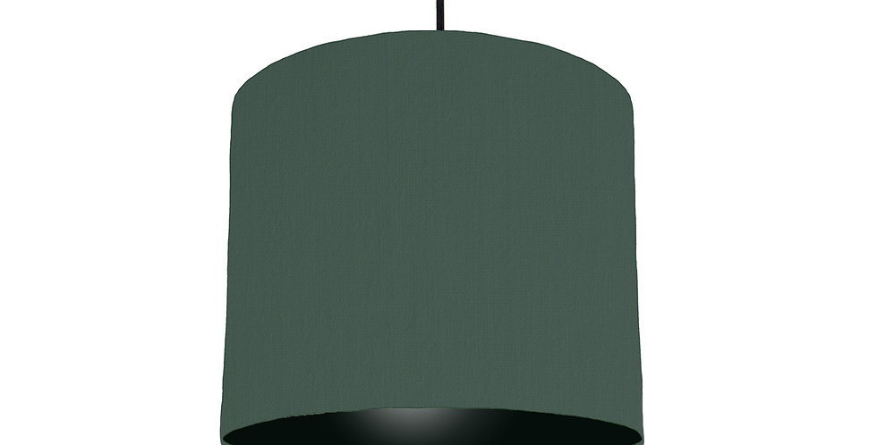 Bottle Green & Black Lampshade - 25cm Wide