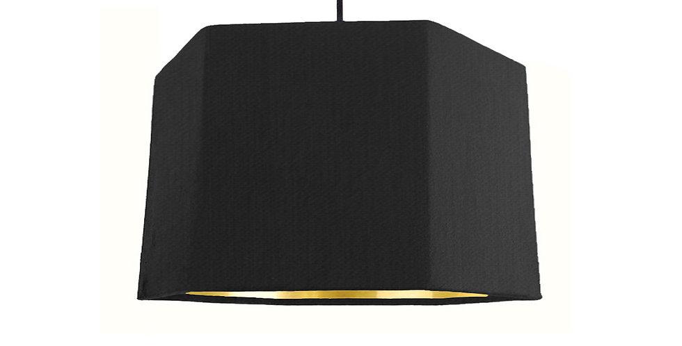 Black & Gold Mirror Hexagon Lampshade - 30cm Wide